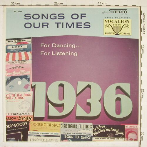 Fingerle,Marlene & Arthur Schutt: Songs of our Times, 1936, MCA(VL 73648), US,  - LP - A9407 - 5,00 Euro