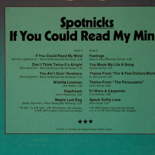 Spotnicks: If You Could Read My Mind(Olympia), Polydor(2459 324), D, 1972 - LP - C7633 - 5,00 Euro