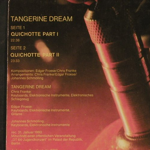 Tangerine Dream: Same, Quichotte Part 1 & 2, Amiga(8 55 819), DDR, 1981 - LP - E1680 - 9,00 Euro