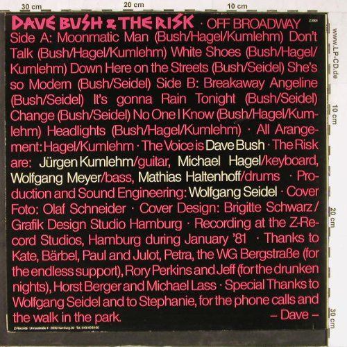 Bush,Dave&the Risk: Off Broadway, Z Rec.(Z 2001), D,  - LP - E3545 - 5,00 Euro