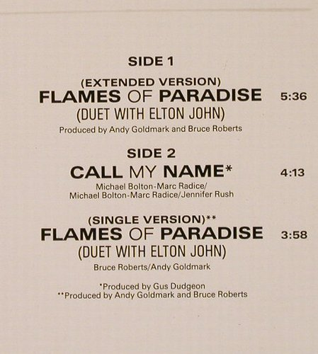Rush,Jennifer(Duet with Elton John): Flames Of Paradise*2+1, CBS(650865 6), D, 1987 - 12inch - E6082 - 3,00 Euro