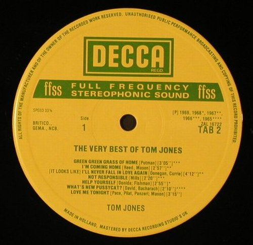 Jones,Tom: The Golden Hits, Decca(TAB 2), NL/UK,  - LP - E9104 - 4,00 Euro