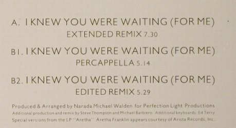 Franklin,Aretha & George Michael: I Knew You Were Waiting(For Me)*3, Epic(650253 6), NL, 1986 - 12inch - F1293 - 1,50 Euro