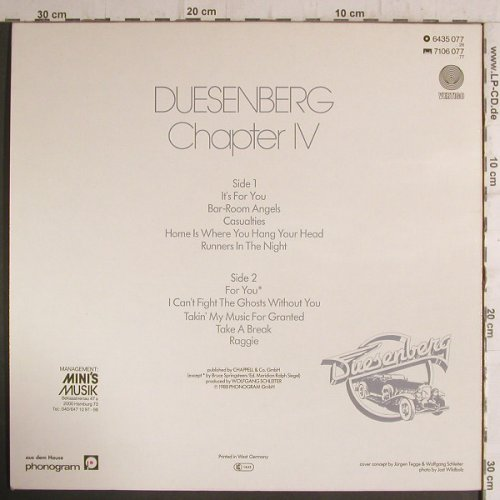 "Duesenberg: Chapter IV, +7"" Like a Hurricane, Vertigo(6435 077), D, 1980 - LP - F6805 - 9,00 Euro"