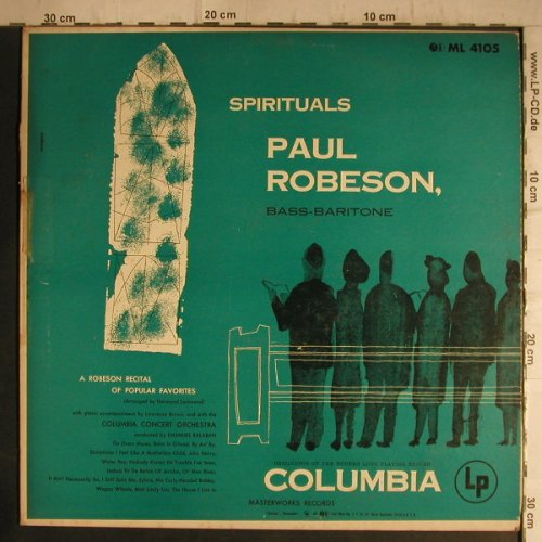 Robeson,Paul: Spirituals,vg+/vg+, toc, Columbia(ML 4105), US,  - LP - F7160 - 4,00 Euro