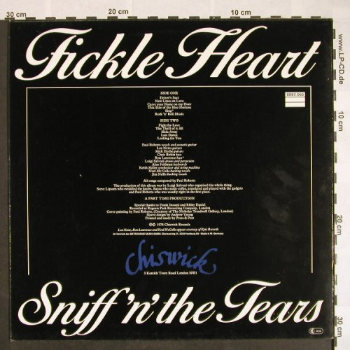 Sniff'n'The Tears: Fickle Heart, Chiswick(0067.065), D, 1978 - LP - F9598 - 5,00 Euro