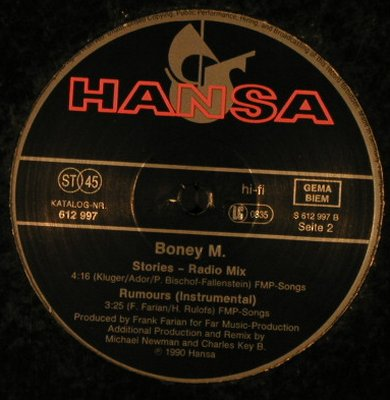 Boney M.: Stories-sp.club mx/radio/Rumours,LC, Hansa(612 997), D,vg+/vg+, 1990 - 12inch - H4580 - 4,00 Euro