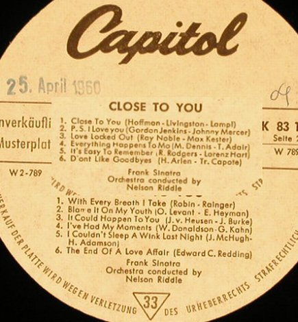 Sinatra,Frank: Close To You-cond.N.Riddle, NoCover, Capitol-Musterplatte(K 83 188), D,vg+/--, 1960 - LP - H5518 - 9,00 Euro