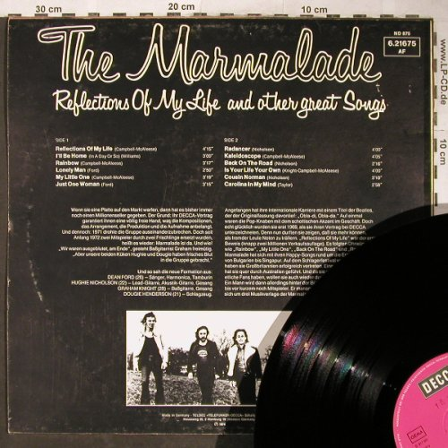 Marmalade: Reflections Of My Life And Other..., Decca(6.21675 AF), D, Stol,  - LP - H5854 - 7,50 Euro