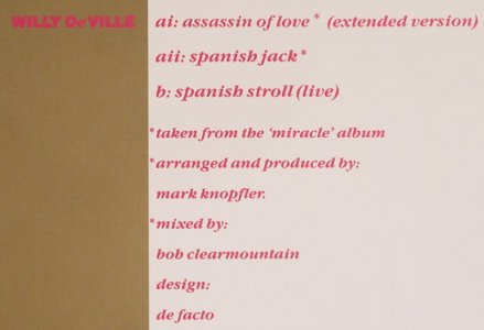 De Ville,Willy: Assassin of love*2/span.Stroll,live, Polydor(877 312-1), D, 1987 - 12inch - H7857 - 3,00 Euro