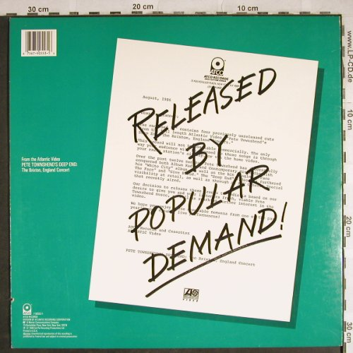Townshend,Pete: Deep End Live!, Atco(90553-1), US, co, 1986 - LP - H8242 - 7,50 Euro