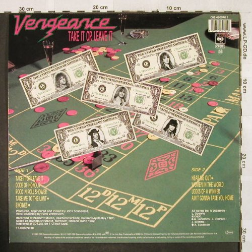 Vengeance: Take It Or Leave It, CBS(460070), NL, 1987 - LP - H3130 - 7,50 Euro