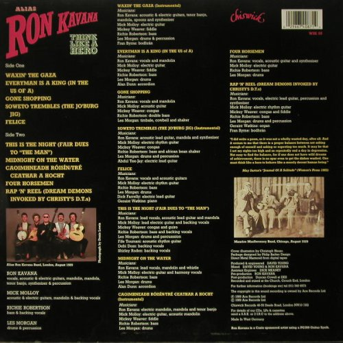 Alias Ron Kavana: Think Like A Hero, Chiswick(WIK 88), UK, 1989 - LP - C7295 - 6,00 Euro