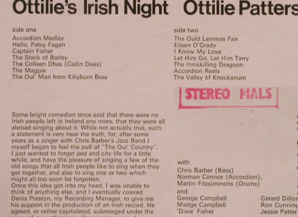 Patterson,Ottilie: Ottilie's Irish Night, vg+/m-, MarbleArch(MALS 648), UK, 1969 - LP - X303 - 6,00 Euro