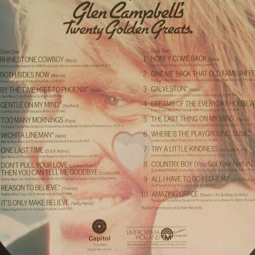 Campbell,Glen: Twenty Golden Greats, Capitol(5C 058-85000), NL, 77 - LP - B149 - 3,00 Euro