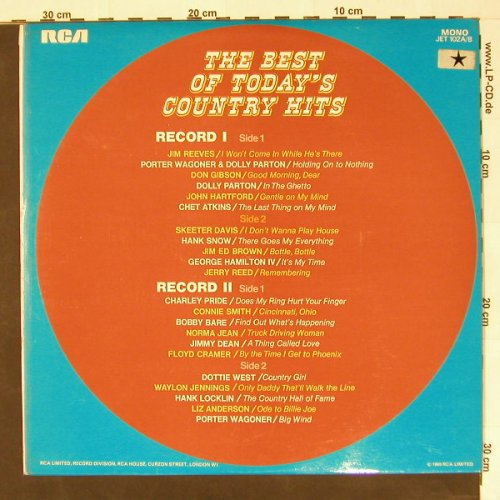 V.A.The Best Of Today's: Country Hits, Foc, RCA(JET 102A/B), UK-Mono, 69 - 2LP - B8207 - 7,50 Euro