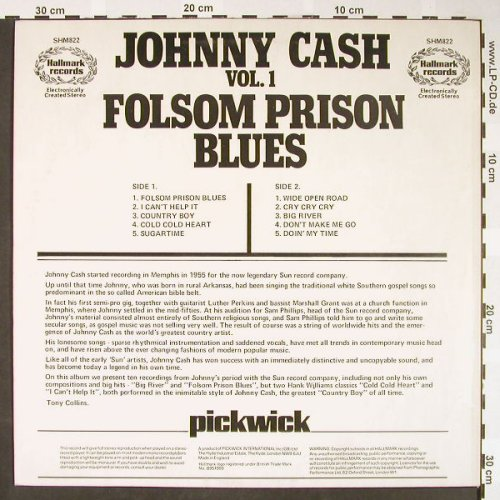 Cash,Johnny: Folsom Prison Blues Vol.1, Hallmark(SHM 822), UK,  - LP - H1671 - 6,50 Euro