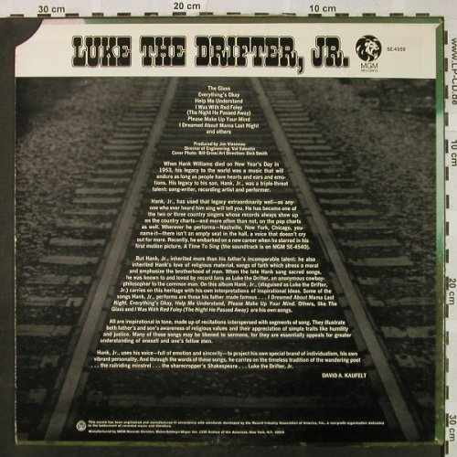 Luke the Drifter,JR.: Same (Hank Williams JR.), vg+/vg+, MGM(SE-4559), US, CO,  - LP - H4839 - 6,00 Euro