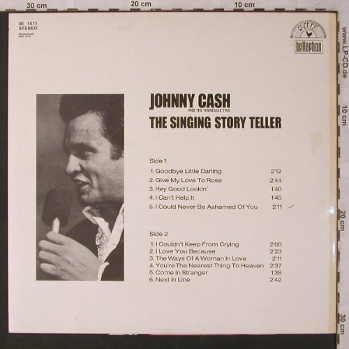 Cash,Johnny and the Tennessee Two: The Singing Story Teller'69, Bellaphon(BI 1571), D,  - LP - X2917 - 7,50 Euro