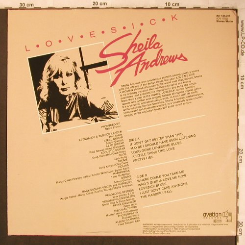 Andrews,Sheila: Love Sick, m-/vg+, Ovation Rec.(INT 146.215), D, 1980 - LP - X4514 - 5,00 Euro