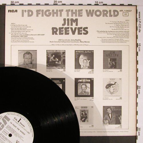 Reeves,Jim: I'd Fight The World, vg+/m-, RCA-Warenprobe(APL 1-0537 AS), D, 1974 - LP - X5837 - 5,00 Euro