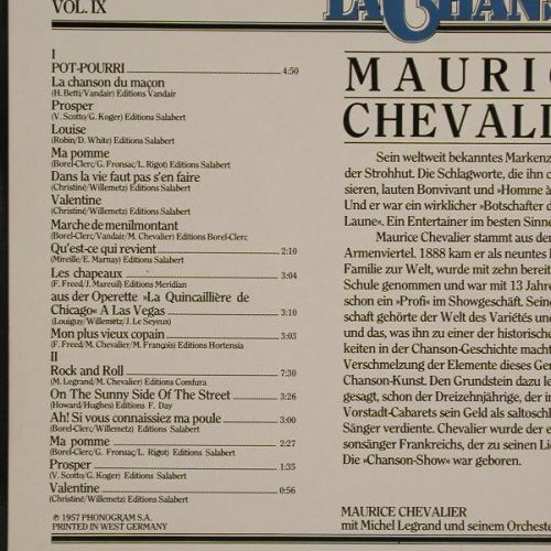 Chevalier,Maurice: Edition La Chanson Vol. IV, Philips(9198 368), D, Ri, 57 - LP - B4464 - 5,00 Euro