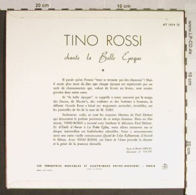 "Rossi,Tino: Chante ""La Belle Epoque"", Pathe(33 AT 1014), F,  - 10inch - H183 - 9,00 Euro"