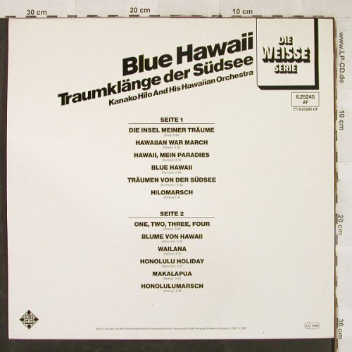 Hilo,Kanako  and his Hawaiian Orch.: Blue Hawaii-Traumklänge der Südsee, Telefunken/Weisse Serie(6.25245 AF), D,Ri(1967), 1982 - LP - H3437 - 5,00 Euro