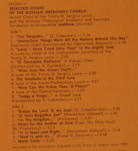 Choir of Patriachal Cathedral Epiph: Hymns of All-Night Vigil/Selected H, Melodramatic Records(C90 23389 000), USSR, 1985 - 2LP - K7444 - 9,00 Euro