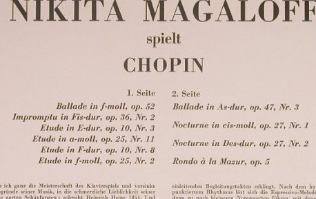 Chopin,Frederic: Nikita Magaloff spielt, vg+/m-, Concert Hall(SMS 2444), playable,  - LP - K8852 - 3,00 Euro
