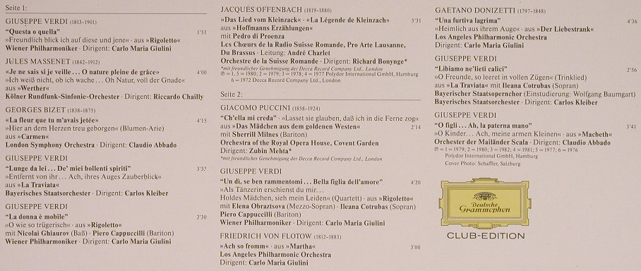 Domingo,Placido: Opern-Gala, Club-Edition, Deutsche Grammophon(42 340), D,  - LP - K8890 - 6,00 Euro