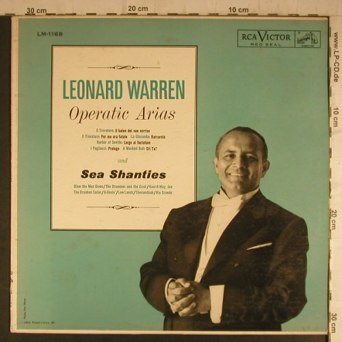 Warren,Leonard: Operatic Arias and Sea Shanties, RCA Victor(LM 1168), US,vg+/m-,  - LP - K9451 - 5,00 Euro