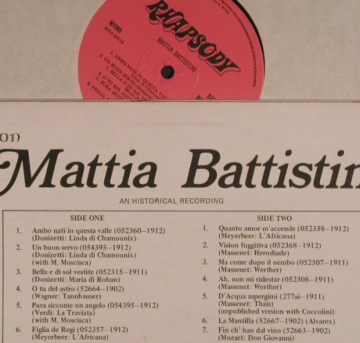 Battistini,Mattia: Collection, vg+/m-, Rhapsody(RHA 6011), UK,  - LP - K9469 - 4,00 Euro
