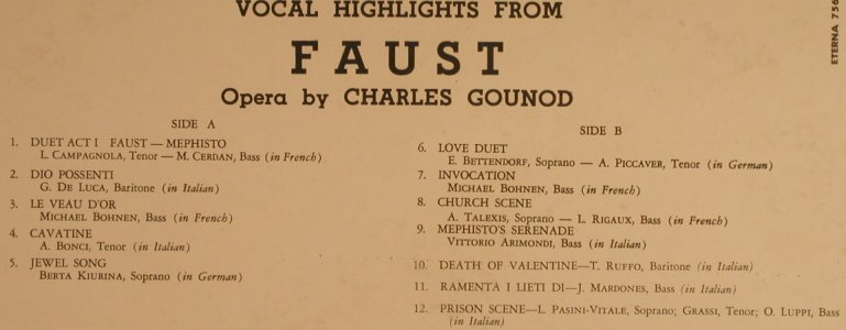 Gounoud: Faust, Highlights from, Eterna(756), US,  - LP - K9557 - 7,50 Euro