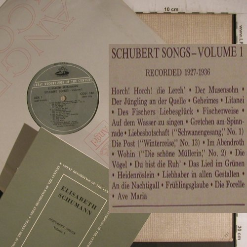 Schumann,Elisabeth: Schubert Songs-Volume1 (1927-36), Angel(COLH 130), US,  - LP - K9620 - 9,00 Euro
