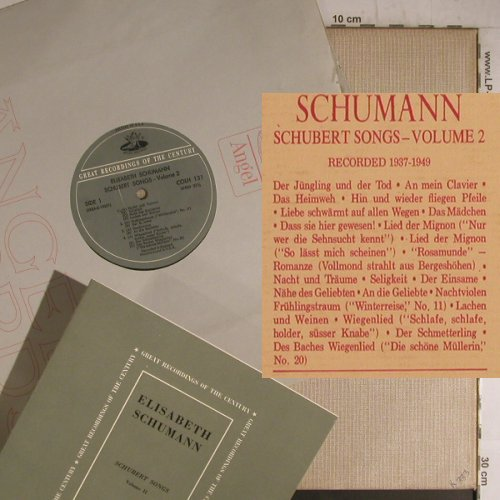 Schumann,Elisabeth: Schubert Songs-Volume2 (1937-49), Angel(COLH 131), US,  - LP - K9621 - 9,00 Euro
