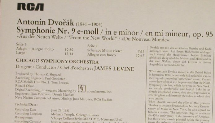 Dvorak,Antonin: Sinfonie Nr.9 ,New World Symphony, RCA Red Seal(RL 14248), D, 1982 - LP - L1777 - 7,50 Euro