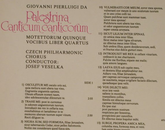 Da Palestrina,Giovani Pierluigi: The Song of Songs, Foc, Supraphon(4 12 2141/2), CZ, 1978 - 2LP - L2423 - 9,00 Euro