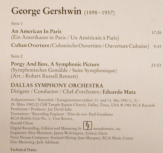 Gershwin,George: An American In Paris/Porgy And Bess, RCA(RL 45158), D, 1982 - LP - L3576 - 7,50 Euro