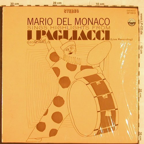 Monaco,Mario del: Highlights from I Pagliacci, Live, Everest(3190), US,  - LP - L4756 - 5,00 Euro