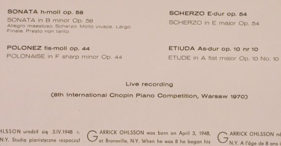 Chopin,Frederic: Chopin Works Recorded Live, Muza(SX 0689), PL, m-/vg+,  - LP - L4817 - 5,00 Euro
