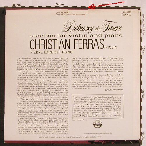 Debussy,Claude / Faure: Sonatas for violin and piano,m-/vg+, Everest Records(3140), US,  - LP - L5192 - 5,00 Euro