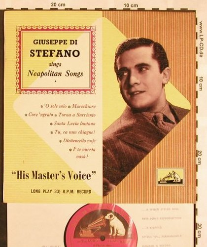 di Stefano,Giuseppe: sings Neapolitan Songs, His Masters Voice(BLP 1052), UK,  - 10inch - L5281 - 7,50 Euro
