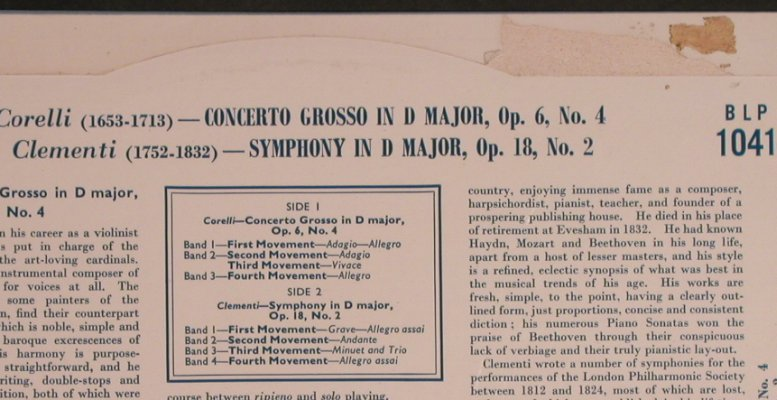 Corelli,Arcangelo / Clementi: Concerti Grosso, op.6, No.4, His Masters Voice(BLP 1041), UK,VG+/vg+,  - 10inch - L5649 - 5,00 Euro