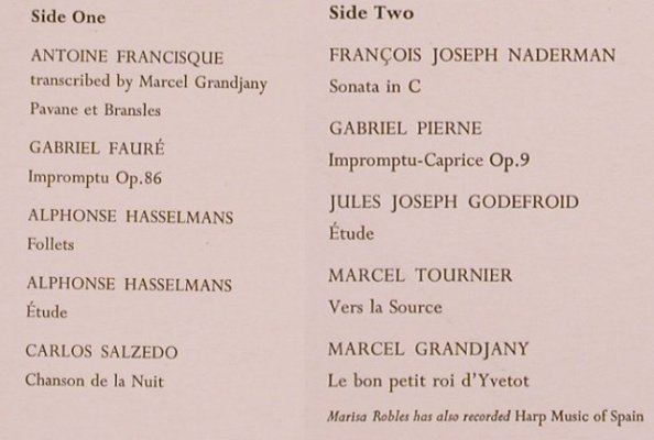 Robles,Marisa: Harp Music of France, m-/vg+, Argo(ZRG 5458), UK, 1966 - LP - L5863 - 7,50 Euro