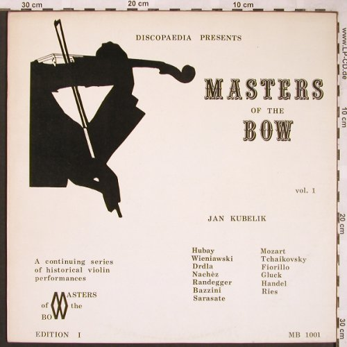 Kubelik,Jan: Masters of the Bow, Vol.1, Discopaedia(MB 1001), CDN,  - LP - L6084 - 9,00 Euro