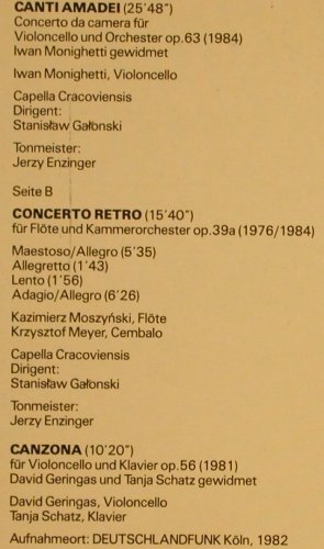 Meyer,Krzysztof: Canti Amadei/Concerto Retro/Canzona, Proviva(ISPV 155), D m-/vg+, 1990 - LP - L6659 - 7,50 Euro