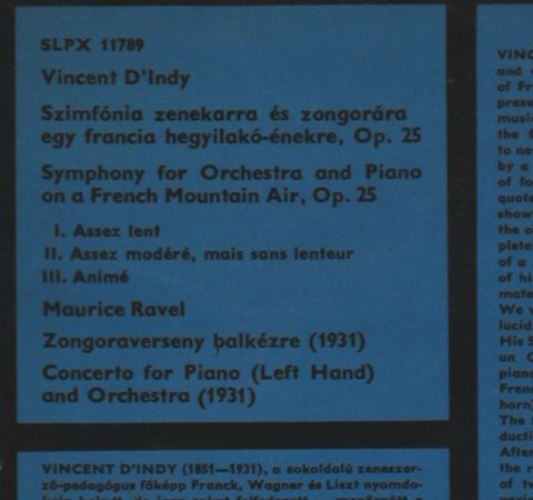 D'Indy,Vincent / Ravel: Symphony on a french Mountain Air, Hungaroton(SLPX 11789), H, 1977 - LP - L6893 - 7,50 Euro