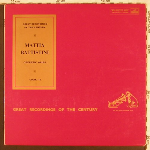 Battistini,Mattia: Operatic Arias, His Master(COLH 116), UK,  - LP - L7152 - 7,50 Euro