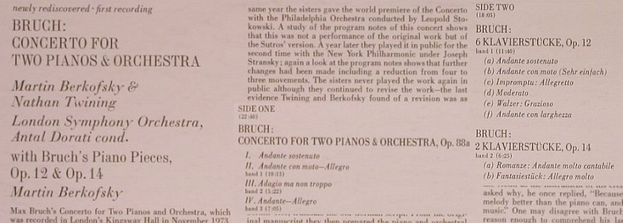 Bruch,Max: Concertos for two Pianos&Orch., Angel(S-36997), US, 1974 - LP - L7504 - 7,50 Euro